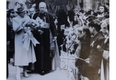 The Queen visits the ruins of St George's Cathedral with Archbishop Amigo, early 1940s (File reference: CATH4.3)