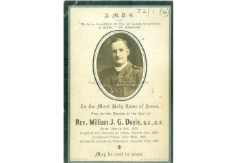 Memorial card for Fr Willim Doyle SJ (1873-1917), a Jesuit chaplain who died serving in the First Word War. (Reference: IE_IJA_J2_1_4)
