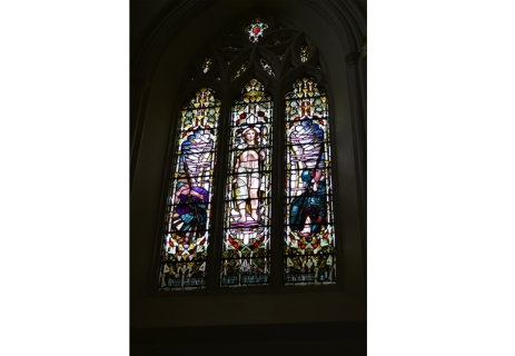 Stained glass windows in the Sacred Heart Chapel at the University of Roehampton, by artist Paul Vincent Woodroffe (1875-1954)